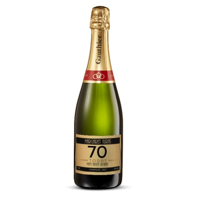 70th Birthday Personalised Champagne 75cl Gift Set By Moonpig - Delivery Available