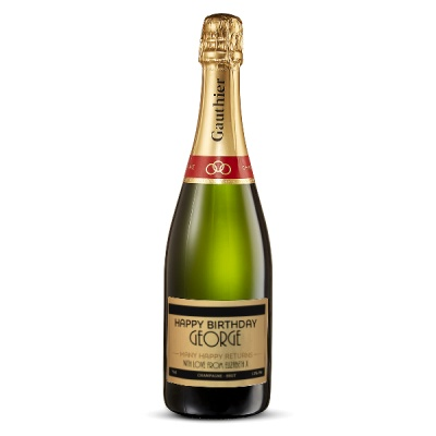 Happy Birthday Personalised Champagne 75cl Gift Set By Moonpig - Delivery Available