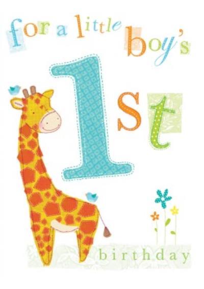 For A Little Boy's First Birthday Cute Giraffe Card