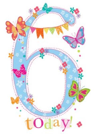 6 Today Butterfly Birthday Card