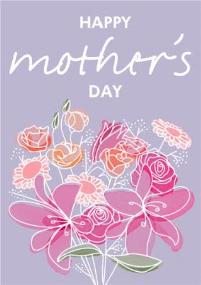 Abstract Flower Bouquet Happy Mother's Day Card