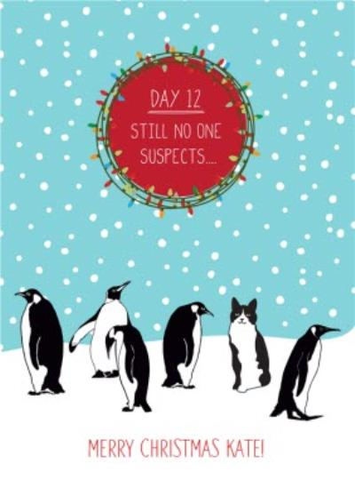 Penguin and cat Personalised Christmas Card