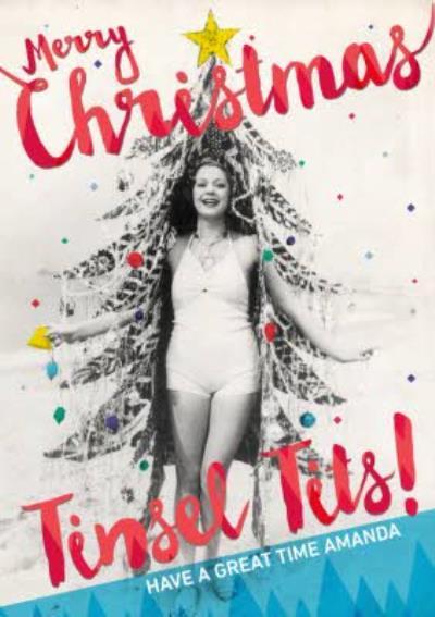Rude Retro Christmas Tree Personalised Card