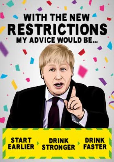 New Restrictions Covid Drinking Funny Birthday Card