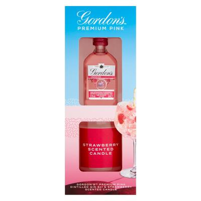 Gordons Pink Gin & Strawberry Candle Gift Set