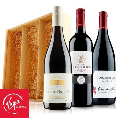 Rhone and Bordeaux Trio in Wooden Gift Box