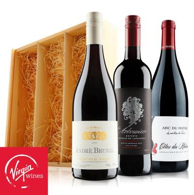French Wine Trio in Wooden Gift Box