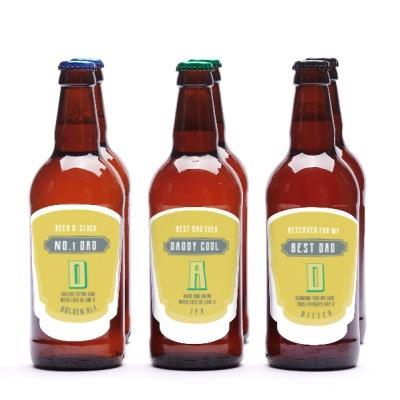 No.1 Dad Personalised Beer Set of Six