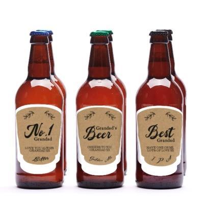 No.1 Grandad Personalised Beer Set of Six