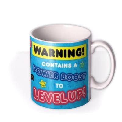 Ali A Warning Contains A Power Boost To Level Up Gaming Photo Upload Birthday Mug