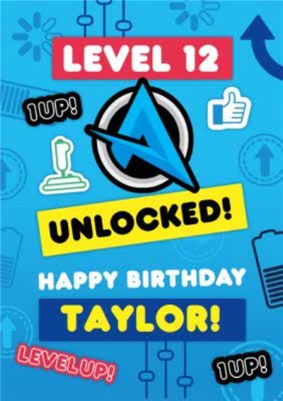 Ali A Level 12 Unlocked Level Up Gaming Happy Birthday Card