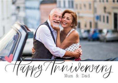 Typographic Happy Anniversary Mum And Dad Photo Upload Card