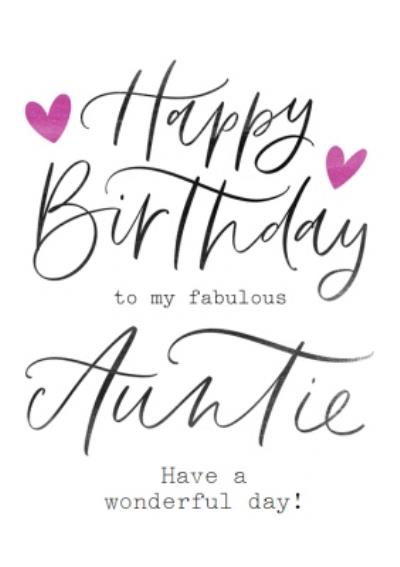 Happy Birthday To My Fabulous Auntie Have A Wonderful Day Card