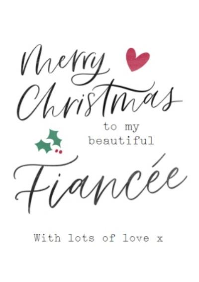 Modern Typographic Beautiful Fiancee Christmas Card