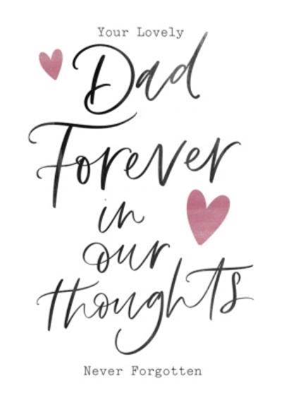 Modern Typographic Dad Forever In Our Thoughts Sympathy Card