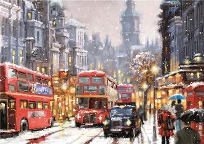London Snowfall Scene Personalised Christmas Card