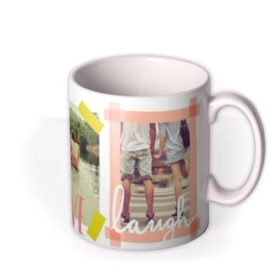 Tape Live, Laugh, Love Multi-Photo Custom Mug