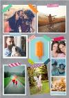 Grey Background Multi Photo With Colourful Tape Personalised Card