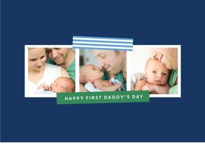 Pinstriped Multi-Photo First Father's Day Photo Card