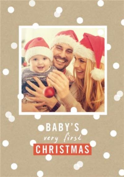 Baby's Very First Christmas Snowy Polka Dots Photo Upload Christmas Card