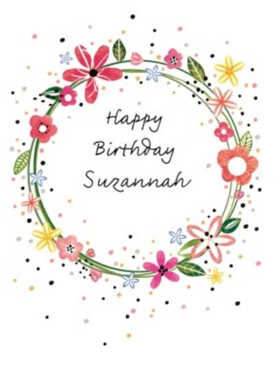 Floral Wreath Personalised Birthday Card