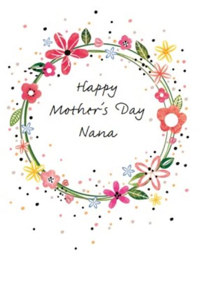 Floral Wreath Personalised  Mother's Day Nana Card