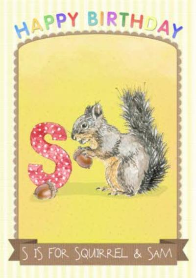 Alphabet Animal Antics S Is For Personalised Happy Birthday Card For Kids