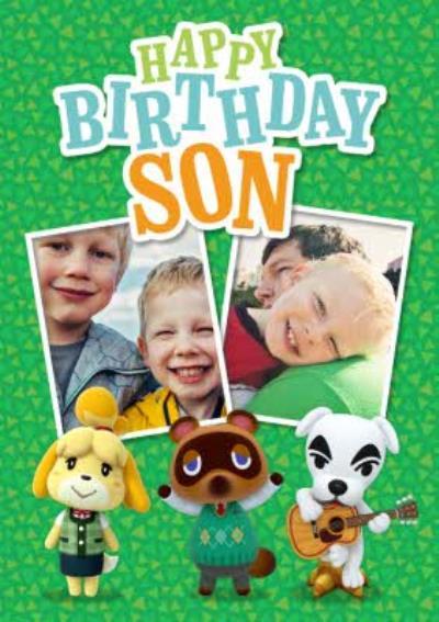 Nintendo Animal Crossing Happy Birthday Son Photo Upload Card