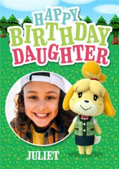Nintendo Animal Crossing Isabelle Daughter Photo Upload Birthday Card