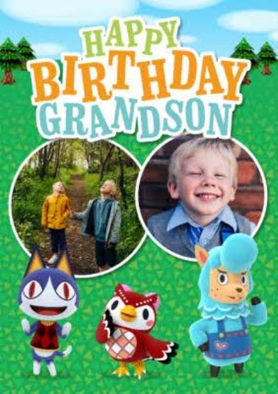 Nintendo Animal Crossing Grandson Photo Upload Birthday Card