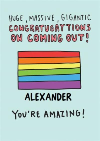 Congratulations on Coming out Card - Pride flag