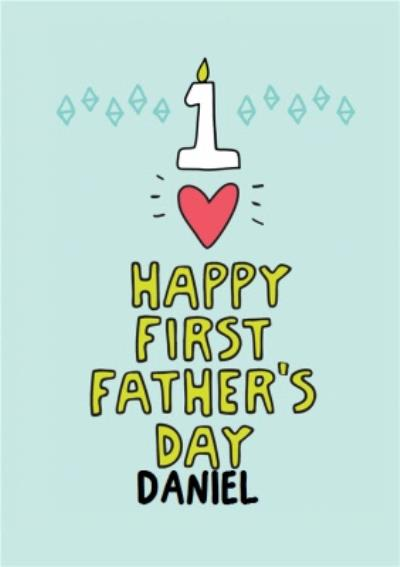Bright Neon Personalised Name Happy First Father's Day Card