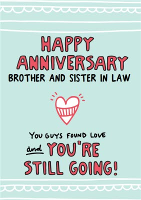 SISTER AND BROTHER IN LAW CUTE WEDDING ANNIVERSARY CARD