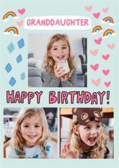 Angela Chick Illustrated Love Hearts Rainbows Kites  Granddaughter Photo Upload Card