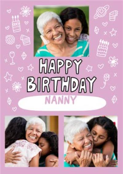 Pink Background And Decorative Icons With Three Photos Upload Birthday Card