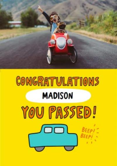 Fun Personalised Photo And Typographic Congratulations Driving Test Card