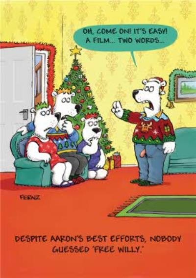 Funny Free Willy Charades Christmas Card