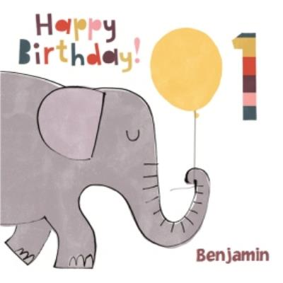 Cartoon Elephant Personalised Happy 1st Birthday Card