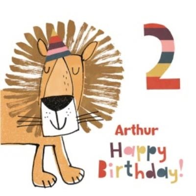 Cartoon Lion Personalised Happy Second Birthday Card