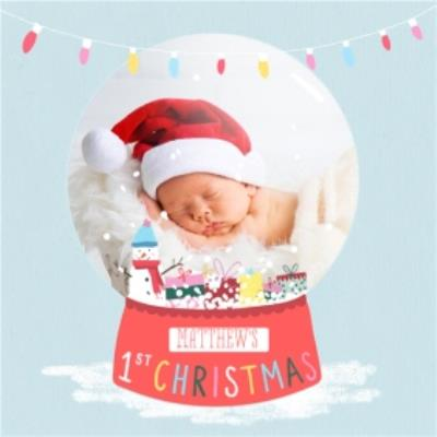 First Christmas Snow Globe Photo Upload Card