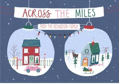 Across The Miles Baubles Personalised Christmas Card