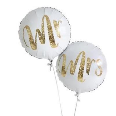 Mr & Mrs Gold Glitter Balloon Bouquet
