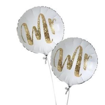 Mr & Mr Gold Glitter Balloon Bouquet