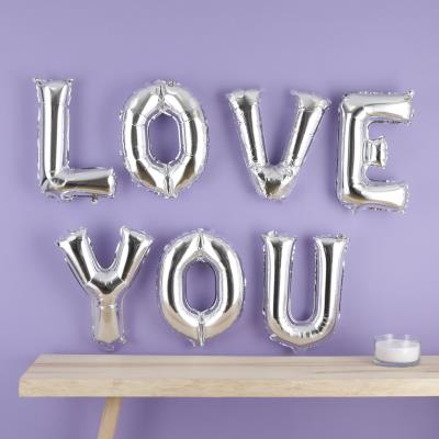 'Love You' Silver Metallic Balloon Letterbox
