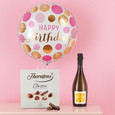 Happy Birthday Balloon, Prosecco & Chocolates Gift Set