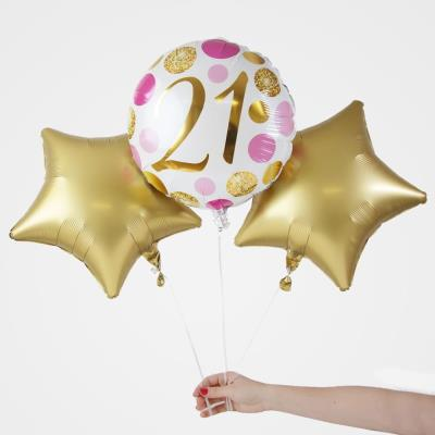 21st Birthday Balloon Trio