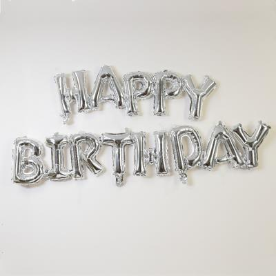 Letterbox Happy Birthday Silver Script Balloon