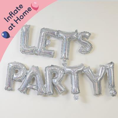 Letterbox Let's Party Silver Balloon