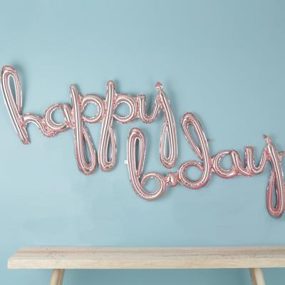 Letterbox Rose Gold Happy Birthday Script Balloons