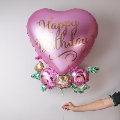 Giant Happy Birthday Floral Heart Balloon
